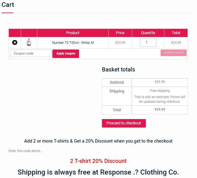 Online Store Cart Page