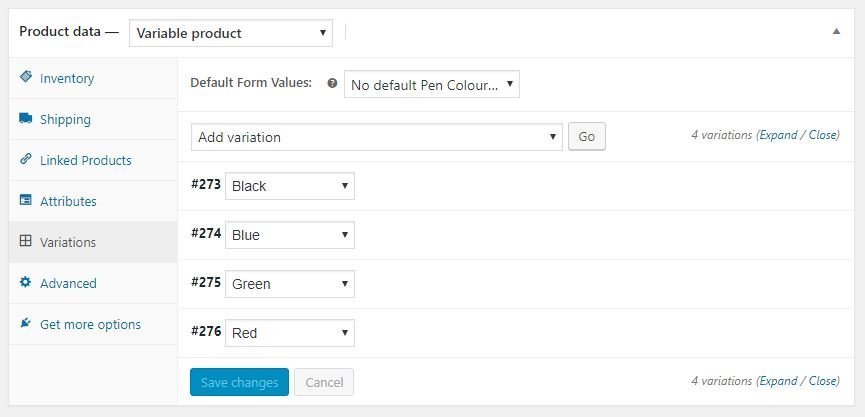 Adding Products in WooCommerce - Create Variations from WooCommerce Attribute Values