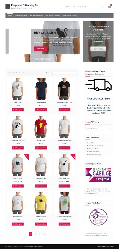 Response Clothing Co E-Commerce Homepage Design