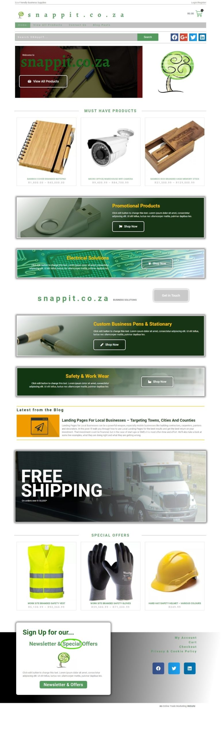 E-Commerce Homepage Design of Snappit