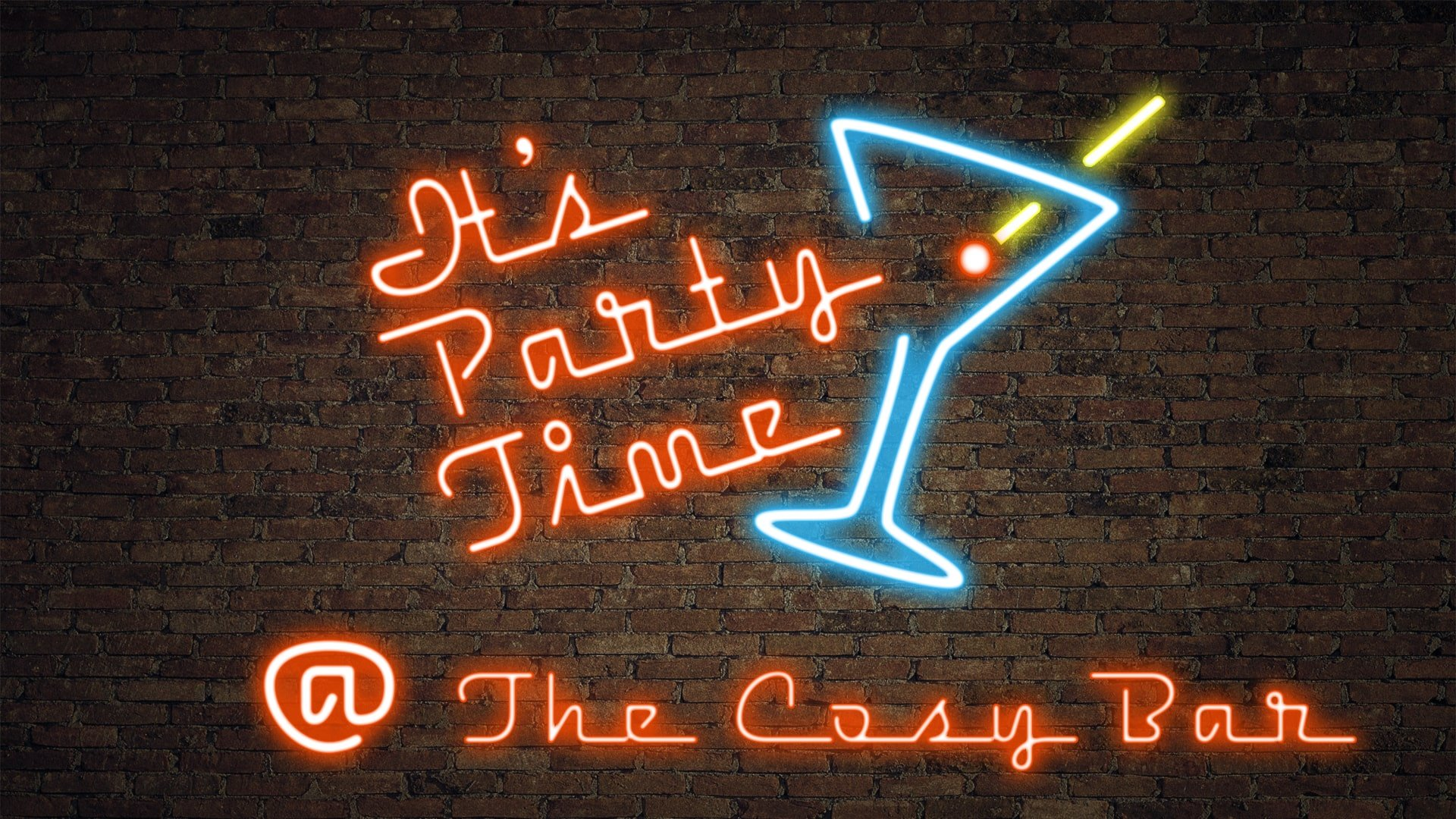 Cosy Bar Neon Party Sign - Website Graphic Design