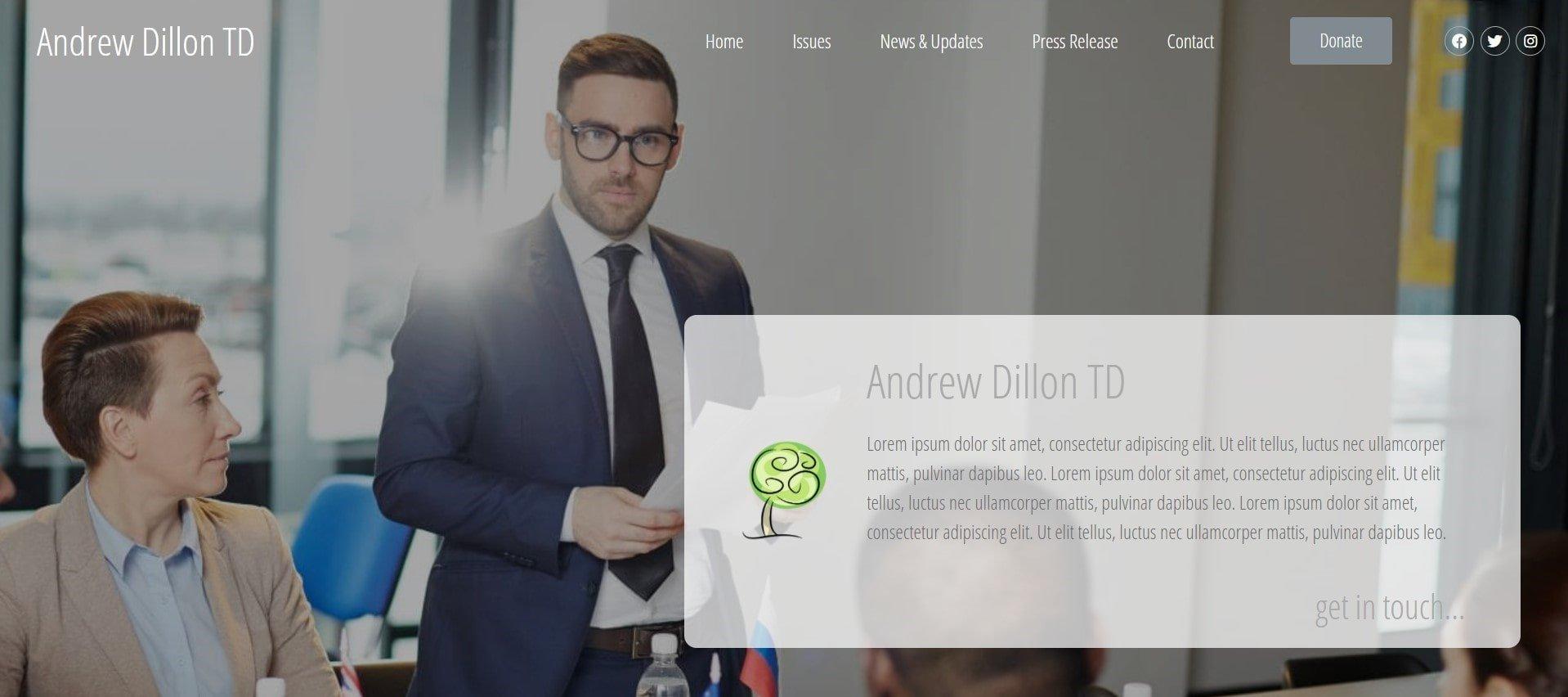 Political Website Design - Homepage Header