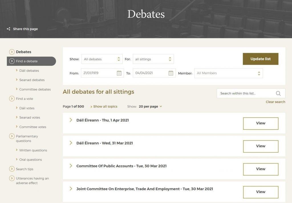 Find a Dail Debate - Political Website Content